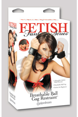 Набор БДСМ - Fetish Fantasy Series Breathable Ball Gag & Handcuffs, Schwarz/Rot.